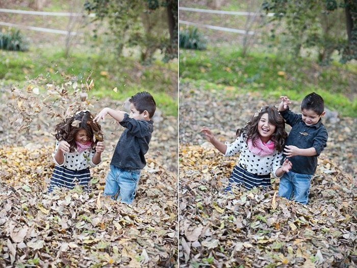 diptych portrait of two kids playing in leaves demonstrating good ways to photograph unruly children
