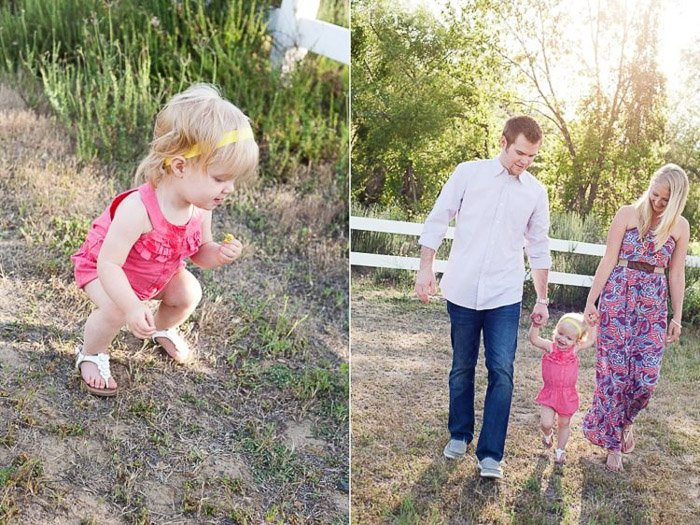 diptych portrait of a young girl playing and holding her parents hands demonstrating good ways to photograph unruly children