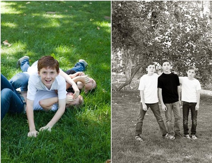 diptych portrait of kids playing demonstrating good ways to photograph unruly children