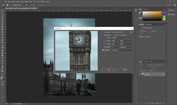 Resizing PPI value of an image in Adobe Photoshop