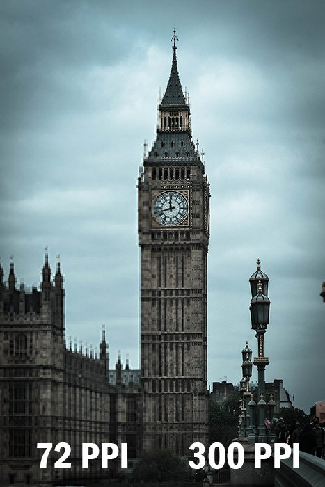 Image of Big Ben showing 72 PPI and 300 PPI image quality