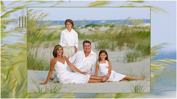 Classic-style family photo on the beach by William Branson