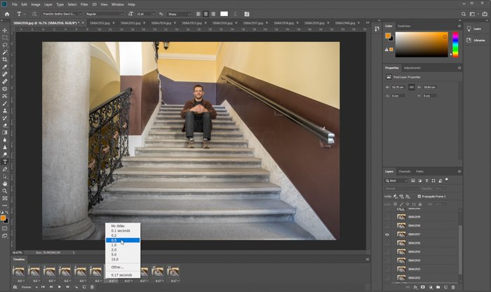 Screenshot of how to make a GIF in Photoshop