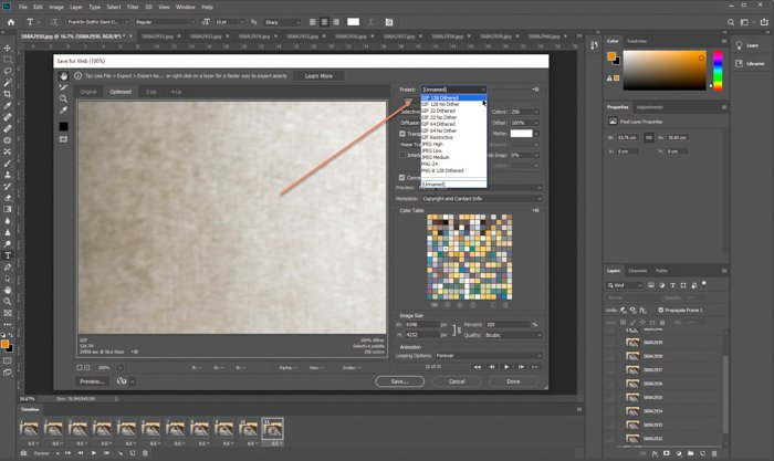 Screenshot of creating a GIF in Photoshop