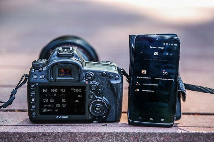 A canon camera and a smartphone with the Camera Connect app