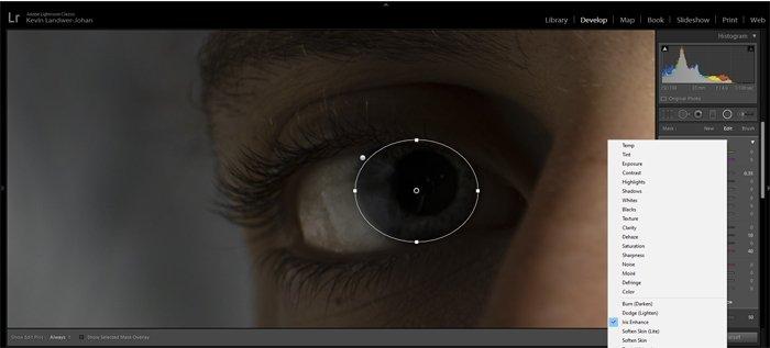 显示如何在Lightroom中增强眼睛的截图