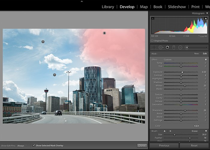 Screenshot of editing sky in Lightroom