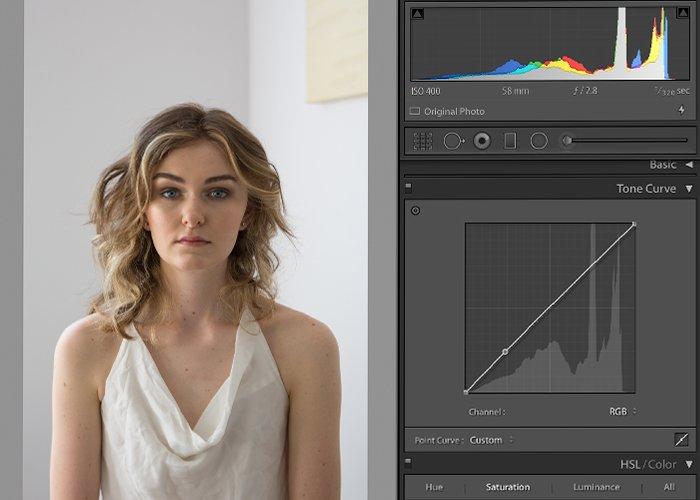 Screenshot of editing a photo in Lightroom matte effect