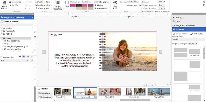 a screenshot of a digital photo diary