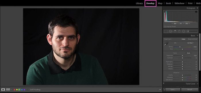 Editing a portrait photo of a man in Lightroom