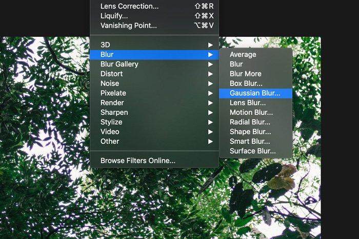 a screenshot showing how to apply Gaussian blur in Photoshop