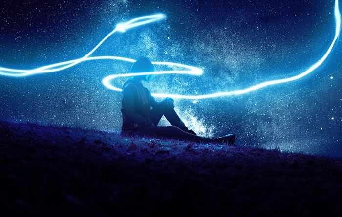 Light painting with saturated blue