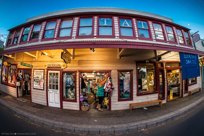 A shop front taken with lens distortion