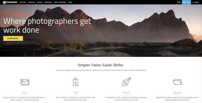a screenshot of a photography business website