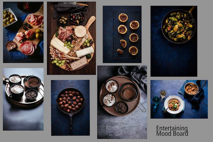 a food photography mood board