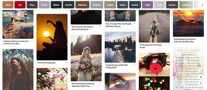 a screenshot of photography business ideas on Pinterest