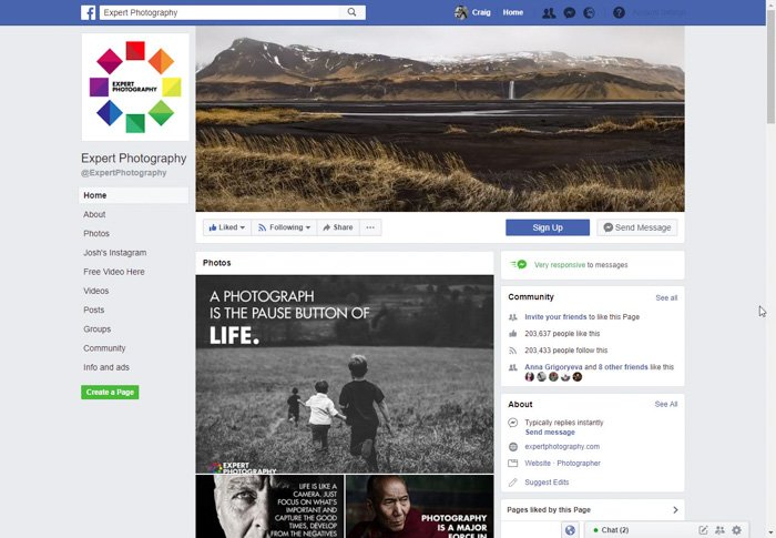 a screenshot of Expert Photography Facebook page