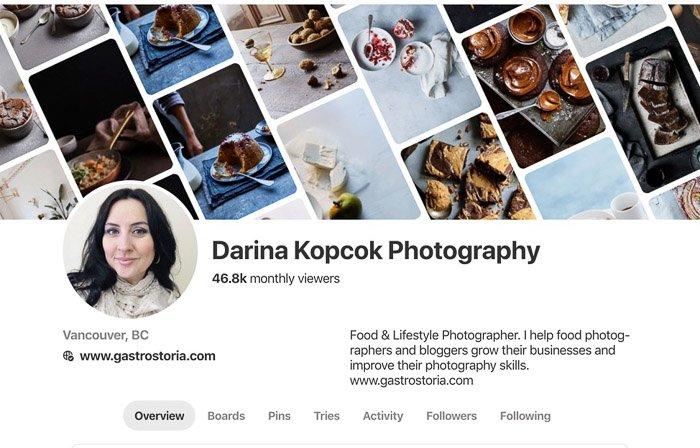 a screenshot of Darina Kopcok photography business website