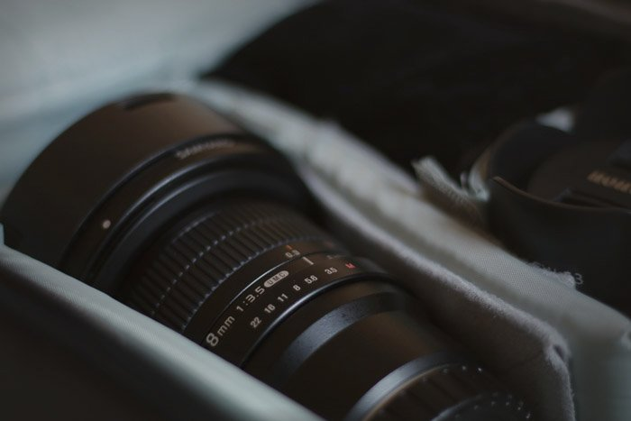 a camera lens in its case
