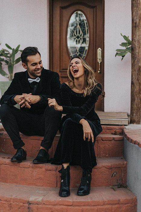 A couple having fun during an outdoor photoshoot