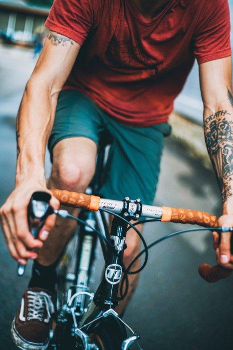 Close-up photo of a man cycling