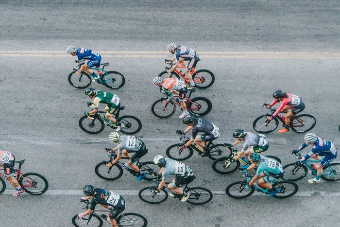 Photo of cyclists from a top view