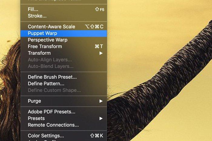 Screenshot of pupper warp in Photoshop