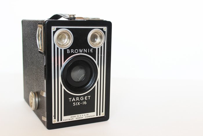 Photo of a Brownie box film camera