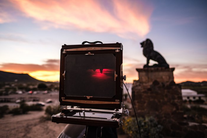 Photo of a large format film camera