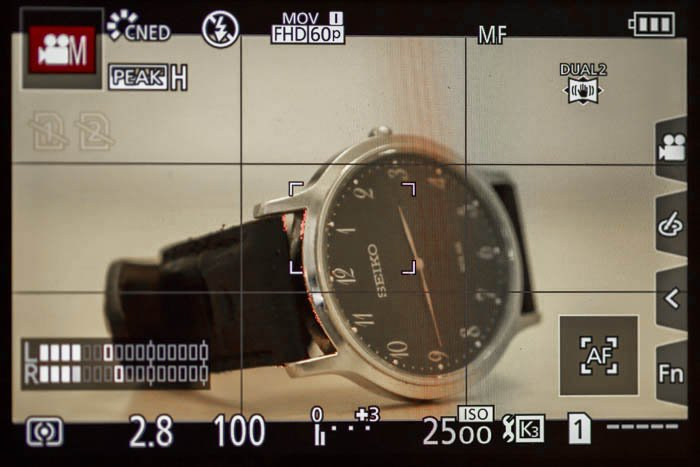 A detailed image of the digital camera display screen on a Panasonic GH5