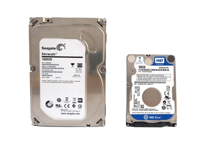 Photo of Seagate and Western Digital hard drives