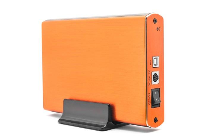 Photo of a portable hard drive in orange