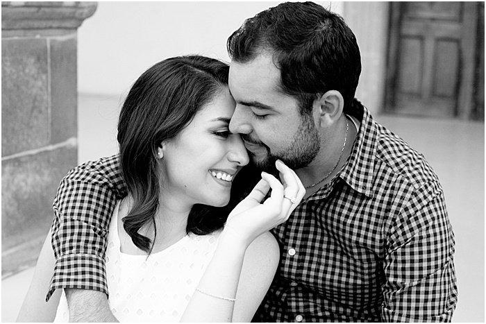 black and white romantic couple photo