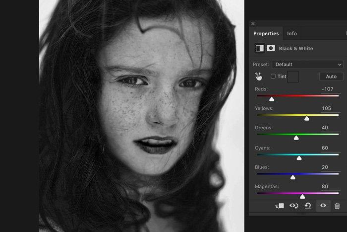 Screenshot of Lightroom color adjustments