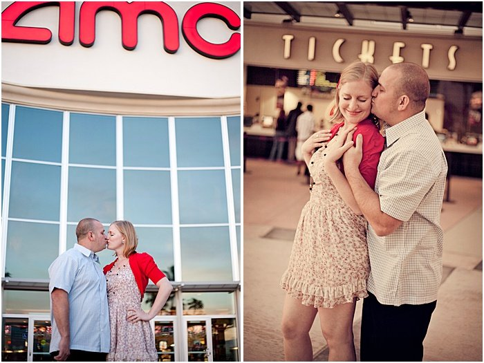 A romantic couple shoot in front of the theatre where they first met