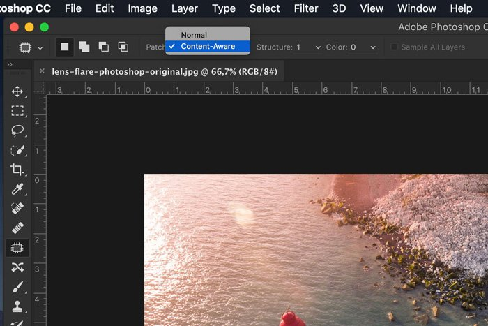 Screenshot of editing lens flare in a photo with Adobe Photoshop