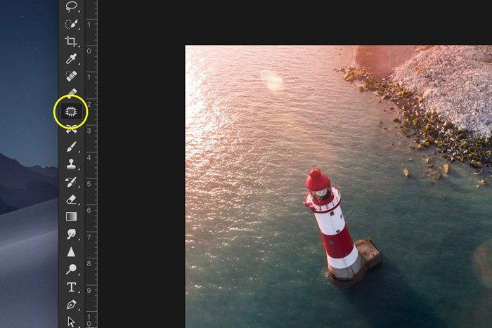 Screenshot of using Adobe Photoshop patch tool