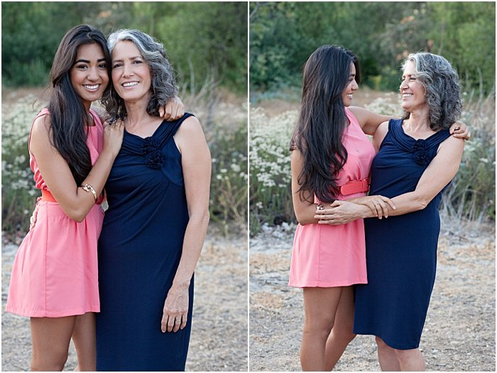 Two mother and daughter photos shot in a romantic style