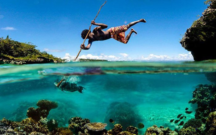 Perfectly timed photo of a man fishing
