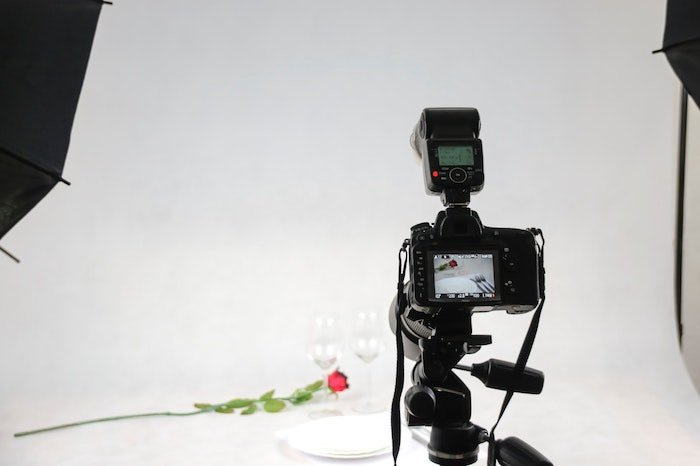 A camera setup with a speed light
