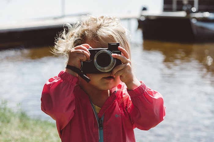Photo of a little girl with a camera
