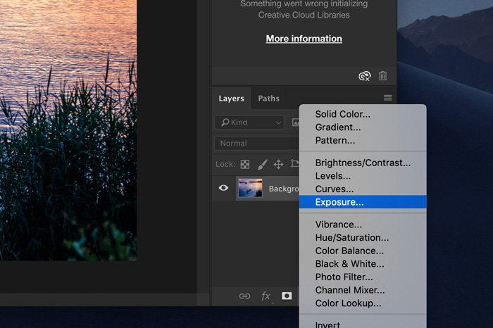 A screenshot showing how to correct exposure in Photoshop