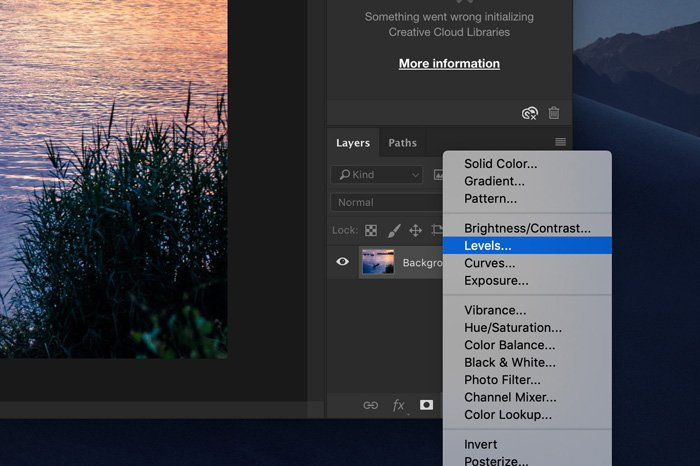 A screenshot showing how to correct Photoshop exposure using adjustment layers