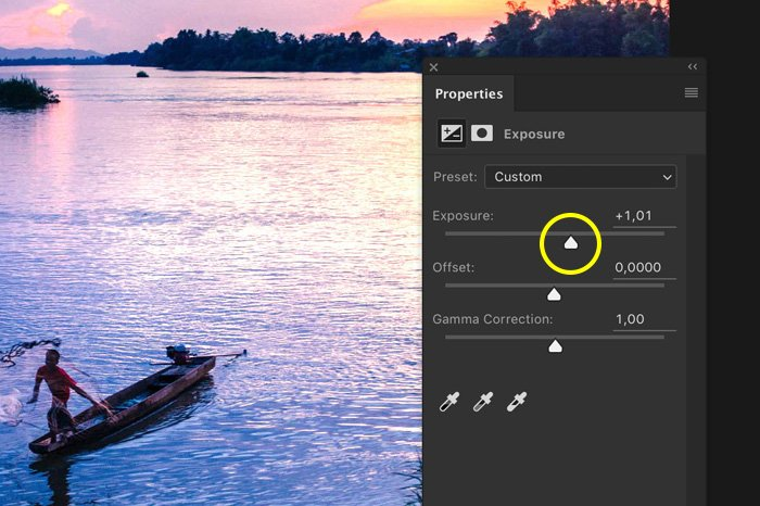A screenshot showing how to correct Photoshop exposure
