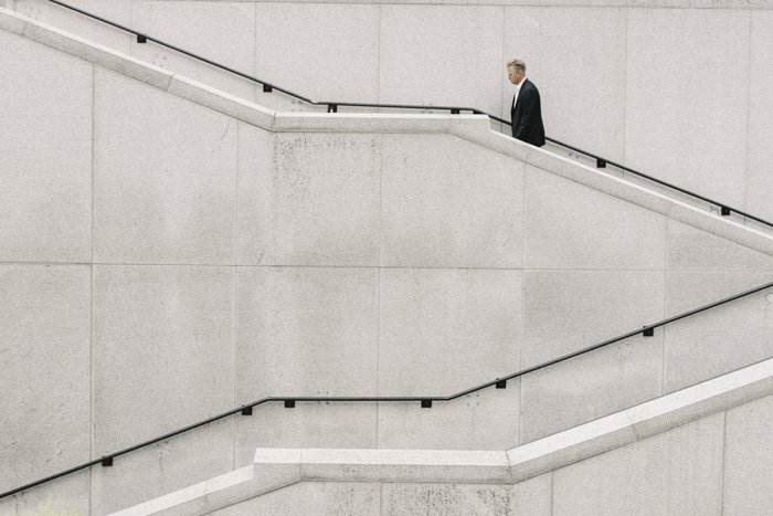 Minimalist architercture photo of a marble staircase