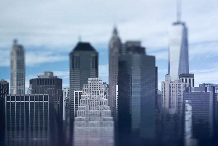 Photo of a cityscape with tilt shift lens