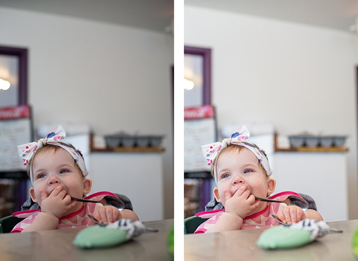 a diptych photo of a baby eating at a table, comparing two different photo editing styles