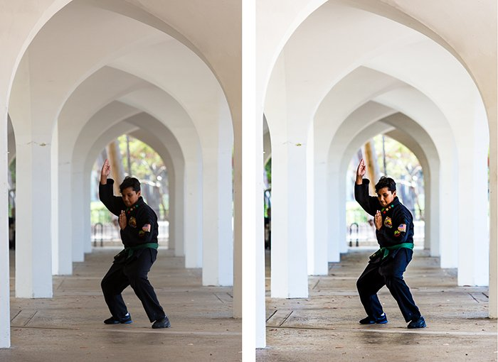 diptych portrait of a boy posing in a martial arts style, the second edited in a high contrast style