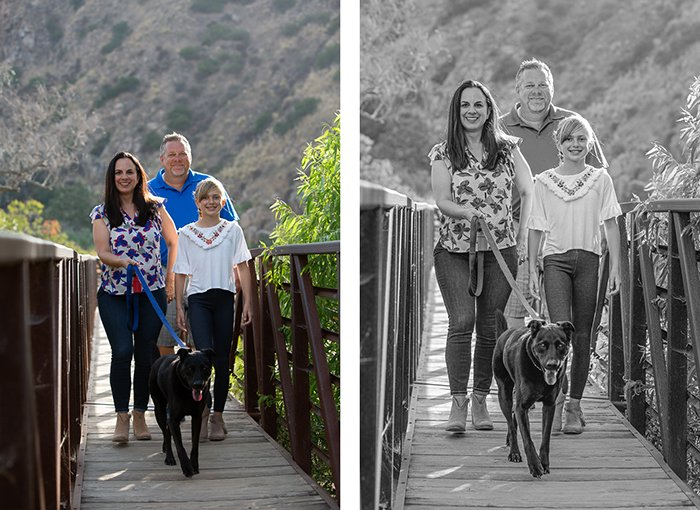 diptych portrait of a family walking across a small wooden bridge, the second edited in a black and white editing style