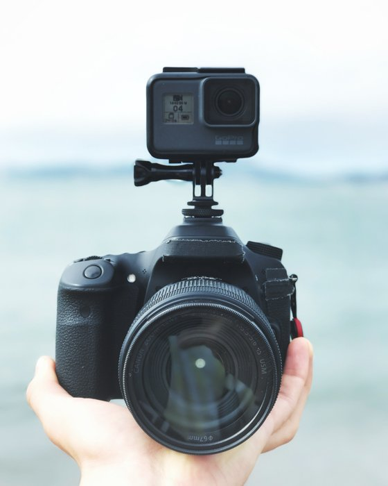 A GoPro attached to a camera